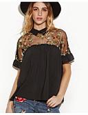 baratos Camisas Femininas-Mulheres Blusa Moda de Rua Com Transparência Bordado, Floral Colarinho de Camisa
