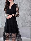 זול חולצה-צווארון V עד הברך תחרה, צבע אחיד - שמלה תחרה כותנה מידות גדולות בגדי ריקוד נשים