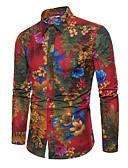 זול טישרטים לגופיות לגברים-פרחוני צווארון קלאסי רזה מידות גדולות פשתן, חולצה - בגדי ריקוד גברים דפוס / שרוול ארוך