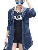 cheap Women's Pants-Women's Going out Basic Plus Size Cotton Denim Jacket - Solid Colored