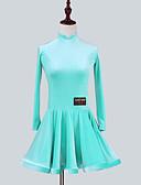 tanie Akcesoria do tańca-Taniec latynoamerykański Sukienki Dla dziewczynek Spektakl Szyfon aksamitny Marszcząca się Długi rękaw Sukienka