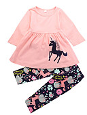 cheap Girls' Clothing Sets-Toddler Girls' Casual Daily / Holiday Floral / Print / Animal Ruched / Modern Style / Cartoon Long Sleeve Long Long Cotton Clothing Set Pink / Cute