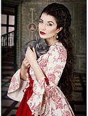cheap Historical & Vintage Costumes-Vintage / Rococo / Victorian Costume Women's Dress / Party Costume / Masquerade Red Vintage Cosplay Lace / Satin / Cotton Long Sleeve Poet Sleeve Long Length / Floral