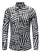 levne Pánské košile-Pánské - Proužky Základní Košile Klasický límeček Černá XXL / Dlouhý rukáv