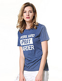 baratos Camisas Femininas-Mulheres Camisa Social Simples Letra