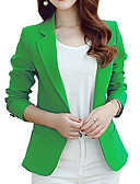 cheap Women's Blazers & Jackets-Women's Work Blazer-Solid Color,Print / Spring / Fall