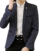 cheap Dress Watches-Men's Street chic Plus Size Linen Blazer - Solid Colored