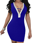 cheap Women's Dresses-Women's Party / Going out Street chic Slim Bodycon / Sheath Dress - Solid Color Backless Mini V Neck / Sexy