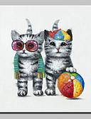 povoljno Majica-Hang oslikana uljanim bojama Ručno oslikana - Životinje Moderna Uključi Unutarnji okvir / Prošireni platno