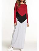 זול שמלות נשים-מקסי דפוס, קולור בלוק - שמלה משוחרר בגדי ריקוד נשים / אביב