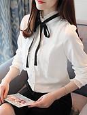 זול חולצה-אחיד צווארון עגול קצר פעיל עבודה חולצה - בגדי ריקוד נשים פפיון / אביב / סתיו / תחרה