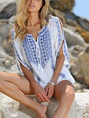 cheap Women's Swimwear & Bikinis-Women's White Cover-Up Swimwear - Geometric Print One-Size