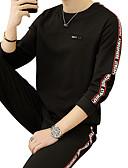 זול חולצות לגברים-בגדי ריקוד גברים סגנון רחוב רזה מכנסיים - אחיד לבן / צווארון עגול / ספורט / שרוול ארוך / אביב / סתיו