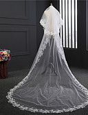 cheap Wedding Veils-Two-tier Vintage Style Wedding Veil Chapel Veils with Embroidery Tulle / Classic