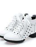 זול חולצות לגברים-בגדי ריקוד נשים מגפי ריקוד עור נאפה Leather סוליה חצויה צדדית חלולה עקב נמוך מותאם אישית נעלי ריקוד לבן / שחור