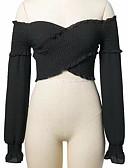 זול נשים טנקים & Camisoles-אחיד סירה רחב חולצה - בגדי ריקוד נשים / קיץ