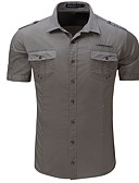זול טישרטים לגופיות לגברים-אחיד סגנון רחוב כותנה, חולצה - בגדי ריקוד גברים דפוס / שרוולים קצרים