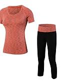 זול חגורות אופנתיות-בגדי ריקוד נשים activewear הגדר - כחול, סגול, אדום /  לבן ספורט אחיד חותלות / מדים בסטים כושר וספורט שרוולים קצרים / קצוץ צפצף לבוש אקטיבי נשימה סטרצ'י (נמתח)
