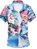 זול חולצות לגברים-פרחוני צווארון עומד(סיני) רזה פעיל / בסיסי כותנה, חולצה - בגדי ריקוד גברים / שרוולים קצרים
