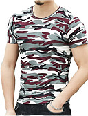זול מכנסיים ושורטים לגברים-צווארון עגול Military כותנה, טישרט - בגדי ריקוד גברים / שרוולים קצרים