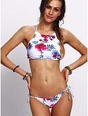 tanie Bikini i odzież kąpielowa 2017-Damskie Pasek Biały Bikini Stroje kąpielowe - Kwiaty Nadruk M L XL / Seksowny