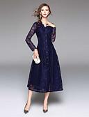זול שמלות נשים-צווארון V מידי תחרה, צבע אחיד - שמלה משוחרר סגנון רחוב בגדי ריקוד נשים