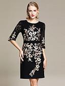 זול שמלות נשים-מעל הברך תחרה / רקום, פרחוני - שמלה צינור / נדן / שחורה וקטנה רזה מידות גדולות סגנון רחוב / מתוחכם חגים בגדי ריקוד נשים