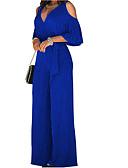 povoljno Ženski jednodijelni kostimi-Žene Wide Leg Izrezati Party Spuštena ramena Crn Lila-roza Navy Plava Wide Leg Jumpsuits, Jednobojni Izrezati L XL XXL Pamuk Dugih rukava Proljeće