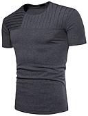 ieftine Maieu & Tricouri Bărbați-Bărbați Rotund Tricou Bumbac Mată Peteci / Manșon scurt
