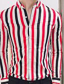 זול חולצות לגברים-פסים בסיסי / סגנון רחוב חולצה - בגדי ריקוד גברים / שרוול ארוך