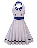 cheap Vintage Dresses-Women's Plus Size Going out Vintage Basic Slim Sheath Dress - Color Block V Neck Summer White Yellow XL XXL XXXL