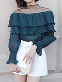 baratos Biquínis e Roupas de Banho Femininas-Mulheres Blusa - Feriado Moda de Rua Renda, Sólido / Primavera / Frufru / Sexy