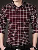 povoljno Muške košulje-Veći konfekcijski brojevi Majica Muškarci Rad Karirani uzorak Print / Dugih rukava