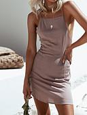 זול שמלות נשים-סירה מתחת לכתפיים מיני גב חשוף, צבע אחיד - שמלה צינור רזה כותנה מועדונים בגדי ריקוד נשים / סקסית