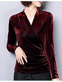 Недорогие Романтические кружева-Жен. Праздники Блуза V-образный вырез Классический Черный