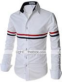 זול חולצות לגברים-פסים רזה בסיסי חולצה - בגדי ריקוד גברים / שרוול ארוך