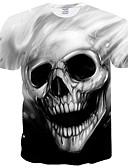 お買い得  メンズTシャツ&タンクトップ-男性用 プリント プラスサイズ Tシャツ ベーシック ラウンドネック スリム スカル / 半袖