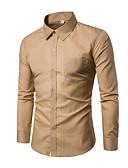 baratos Vestidos Longos-Homens Camisa Social Básico Sólido Delgado