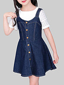 זול סטים של ביגוד לבנות-שמלה ללא שרוולים אחיד ליציאה יום יומי בנות ילדים