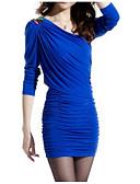 tanie Sukienki-Damskie Podstawowy Bawełna Spodnie - Solidne kolory Niebieski / Mini / Na jedno ramię / Kij / Seksowny