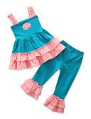 hesapli Kız Çocuk Kıyafet Setleri-Toddler Genç Kız Günlük Actif Günlük Dışarı Çıkma Kırk Yama Jakarlı Çiçekli Fırfırlı Bağcık Kolsuz Normal Normal Pamuklu Kıyafet Seti Havuz