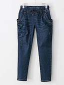 tanie Damskie spodnie-Damskie Bawełna Jeansy Spodnie - Otwór, Jendolity kolor