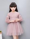 זול שמלות לילדות פרחים-שמלה שרוול ארוך תחרה / רקום אחיד / סרוג Party פשוט / וינטאג' / בסיסי בנות ילדים / כותנה