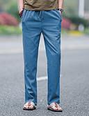 זול מכנסיים ושורטים לגברים-בגדי ריקוד גברים פשתן ישר מכנסיים אחיד