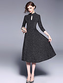 cheap Women's Dresses-Women's Party / Daily Vintage / Street chic Slim A Line / Swing Dress - Solid Colored Cut Out High Waist Crew Neck Spring Black M L XL