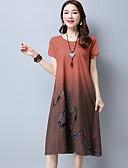 preiswerte Damen Kleider-Damen Chinoiserie Baumwolle Lose Kleid - Druck, Einfarbig Midi