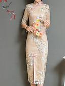tanie Sukienki-Damskie Wzornictwo chińskie Bufka Pochwa Sukienka - Geometric Shape, Nadruk Kołnierz stawiany Midi / Wiosna