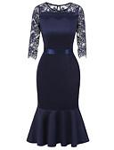 זול חולצה-מידי תחרה, צבע אחיד - שמלה צינור בגדי ריקוד נשים