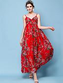 baratos Vestidos de Mulher-Mulheres Feriado / Praia Boho Delgado Chifon / balanço Vestido - Pregueado / Estampado, Floral Com Alças Longo Vermelho / Verão