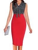 זול שמלות נשים-צווארון V מותניים גבוהים מידי בסיסי, קולור בלוק - שמלה נדן רזה בגדי ריקוד נשים